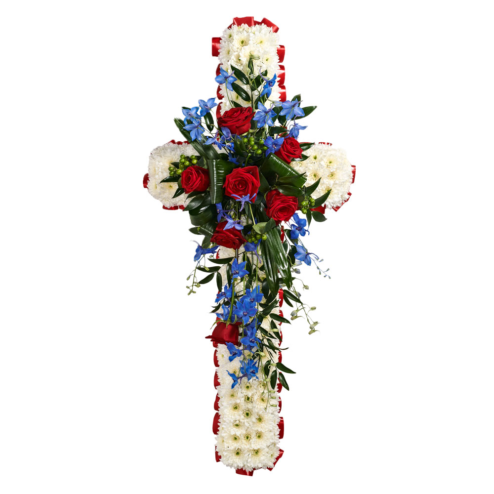 Sympathy flowers funeral in bolton by octagon flowers funeral crosses are available in a range of sizes and colours usually with white base the flower bump and ribbon can be in any colours izmirmasajfo
